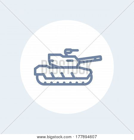 modern tank line icon isolated on white, vector illustration