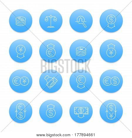Currency line icons set, forex trading, foreign exchange, coins, monetary policy, money transfer
