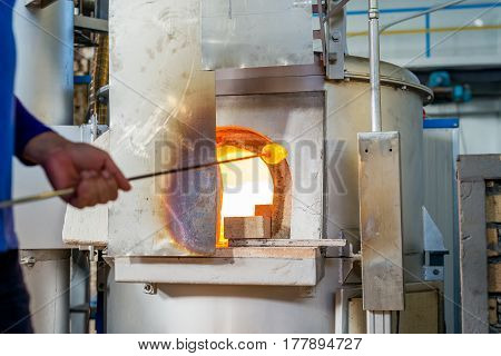 Melted Glass Furnace In Glass Factory
