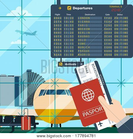 Man with passport and boarding pass waiting flight. Illustration inside in flat design of airport with a plane with gangplank, timetable in background. Travel, vacation, business trip concept.
