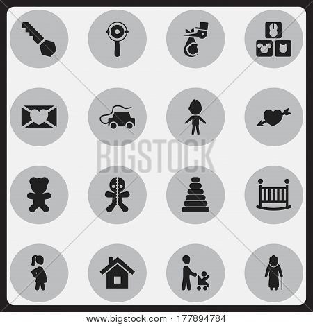 Set Of 16 Editable Folks Icons. Includes Symbols Such As Rattle, Lock, Blocks And More. Can Be Used For Web, Mobile, UI And Infographic Design.