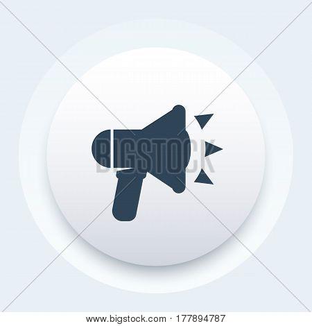 loudspeaker icon, megaphone, bullhorn pictogram, vector illustration