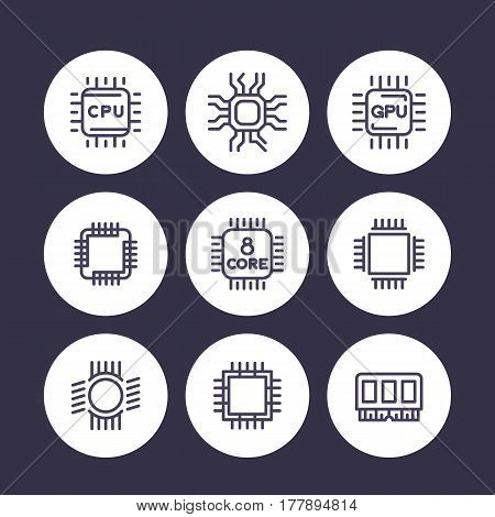 Chipset, cpu line icons set, microchip, gpu, 8-core processor pictograms over white, vector illustration