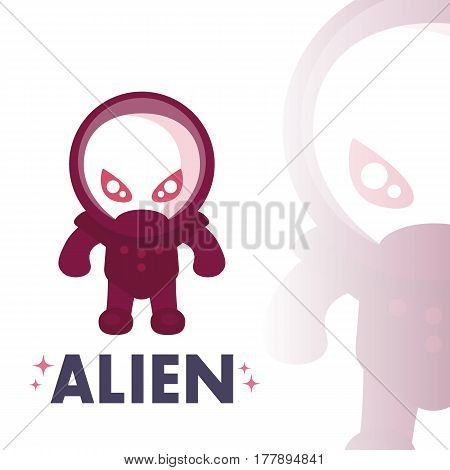 alien in space suit in flat style over white