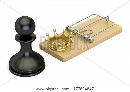 chess risk concept 3D rendering isolated on white background