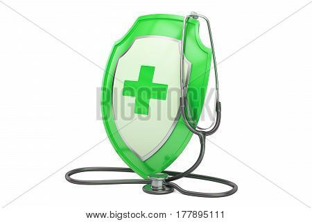 Healthcare insurance concept. Stethoscope with shield. 3D rendering