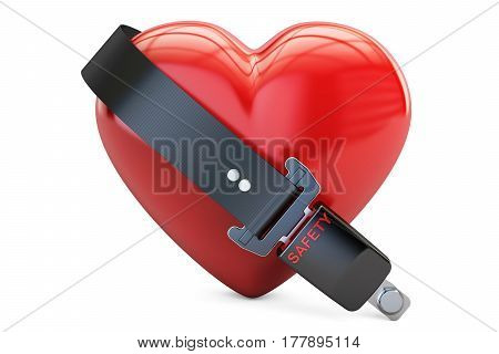 Heart with safety belt safety and insurance concept. 3D rendering isolated on white background