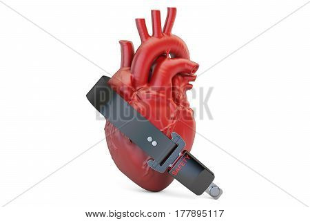 Human heart with safety belt health insurance concept. 3D rendering