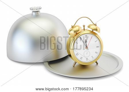 Restaurant cloche with alarm clock 3D rendering isolated on white background