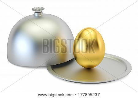 Restaurant cloche with golden egg 3D rendering isolated on white background