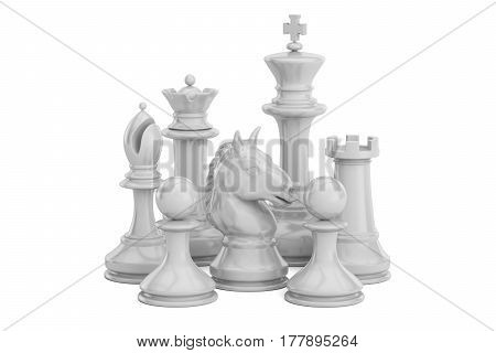 White chess figures 3D rendering isolated on white background