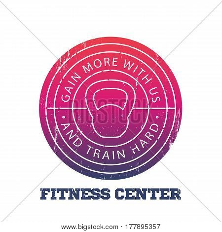 Fitness center round logo, badge, vector illustration