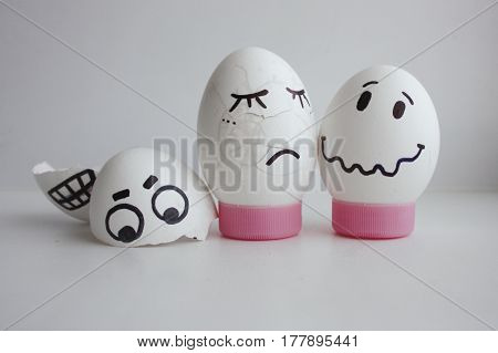 Eggs Cheerful With A Face Two Concept Crashed