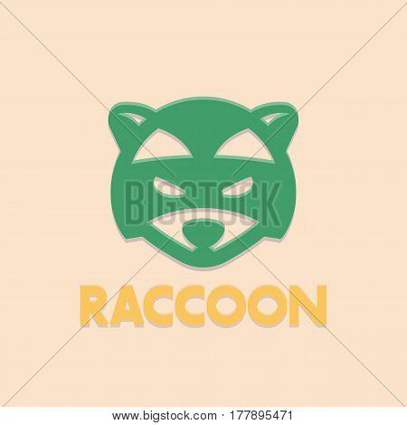 raccoon logo element, vector head of coon