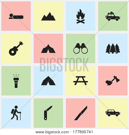 Set Of 16 Editable Trip Icons. Includes Symbols Such As Refuge, Field Glasses, Sport Vehicle And More. Can Be Used For Web, Mobile, UI And Infographic Design.