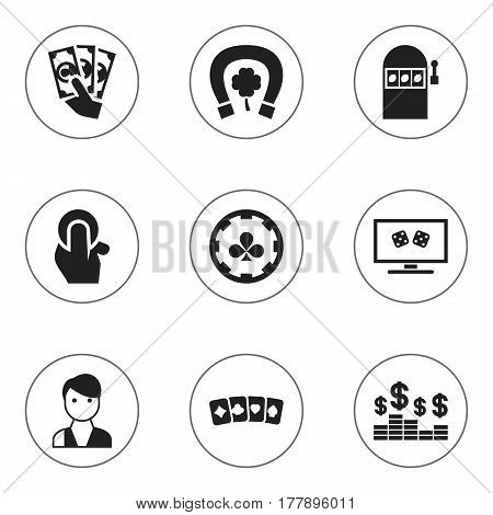 Set Of 9 Editable Business Icons. Includes Symbols Such As Diamond Cards, Dollar, Trader And More. Can Be Used For Web, Mobile, UI And Infographic Design.