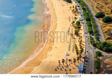 Aerial View Of Playa De Las Teresitas Near Santa Cruz De Tenerife. Sunny Summer Beach Landscape Top