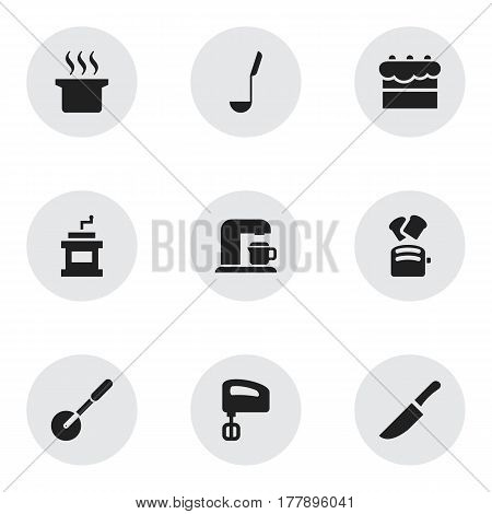 Set Of 9 Editable Cook Icons. Includes Symbols Such As Soup Spoon, Pastry, Slice Bread And More. Can Be Used For Web, Mobile, UI And Infographic Design.