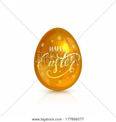 Golden decorative Easter egg with lettering Happy Easter isolated on white background, illustration.