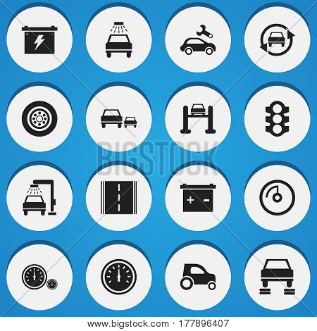 Set Of 16 Editable Traffic Icons. Includes Symbols Such As Tire, Speed Control, Car Lave And More. Can Be Used For Web, Mobile, UI And Infographic Design.
