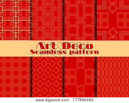 Art Deco Seamless Patterns. Set Retro Backgrounds. Style 1920's, 1930's. Vector Illustration