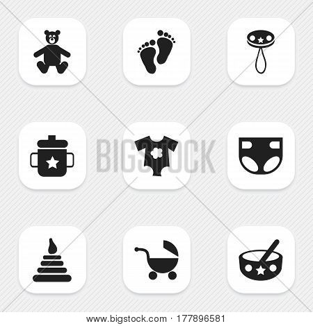 Set Of 9 Editable Baby Icons. Includes Symbols Such As Small Dresses, Spoon, Teddy And More. Can Be Used For Web, Mobile, UI And Infographic Design.