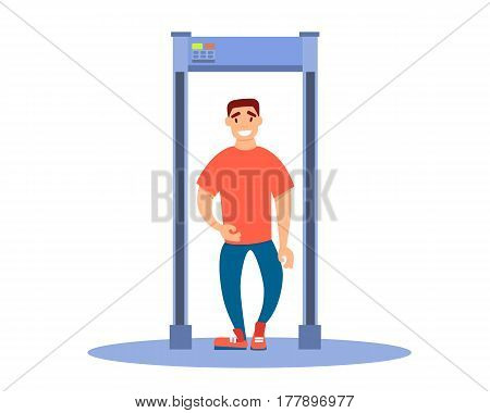 Young tourist man walks through a metal detector at the airport. Vector illustration