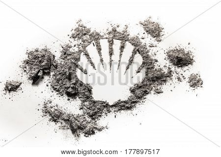 Sea or ocean shell silhouette drawing made in grey ash sand dirt as old fossil ecology danger oil and gass resource marine life concept symbol