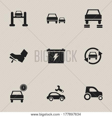 Set Of 9 Editable Vehicle Icons. Includes Symbols Such As Battery, Treadle, Tuning Auto And More. Can Be Used For Web, Mobile, UI And Infographic Design.