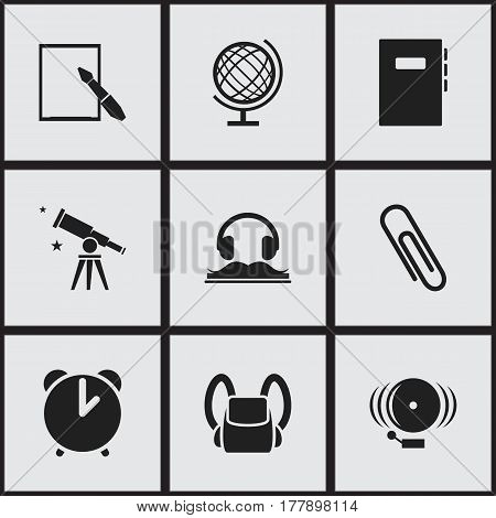 Set Of 9 Editable School Icons. Includes Symbols Such As Taped Book, Alarm, Notepaper And More. Can Be Used For Web, Mobile, UI And Infographic Design.