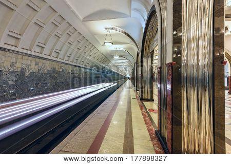 Metro station Mayakovskaya, opened 1938. Moscow, Russia