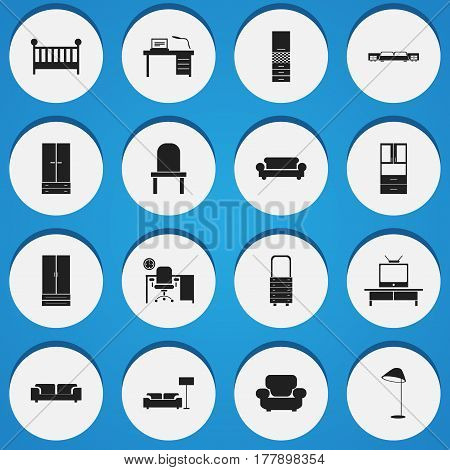 Set Of 16 Editable Home Icons. Includes Symbols Such As Sofa, Illuminant, Settee And More. Can Be Used For Web, Mobile, UI And Infographic Design.