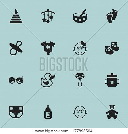 Set Of 16 Editable  Icons. Includes Symbols Such As Shoes For Babies, Nursing Bottle, Footmark And More. Can Be Used For Web, Mobile, UI And Infographic Design.