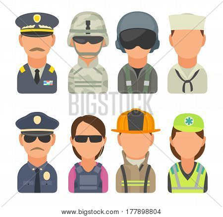 Set icon people different professions. Soldier, officer, pilot, marine, sailor, police, bodyguard, fireman, paramedic. Vector flat illustration on turquoise circle