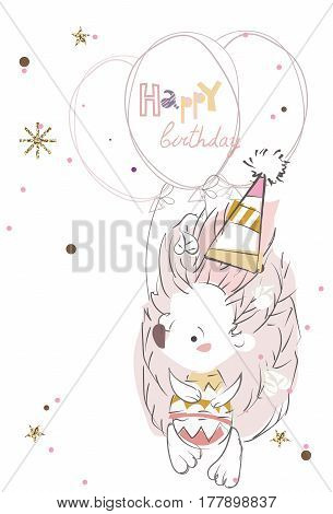 Pretty little hedgehog- hand drawn doodle vector on white background.Isolated illustration sketch for ready for t-shirt print .Happy birthday.