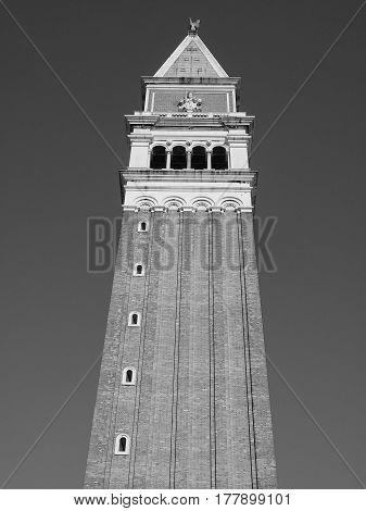 St Mark Campanile In Venice In Black And White