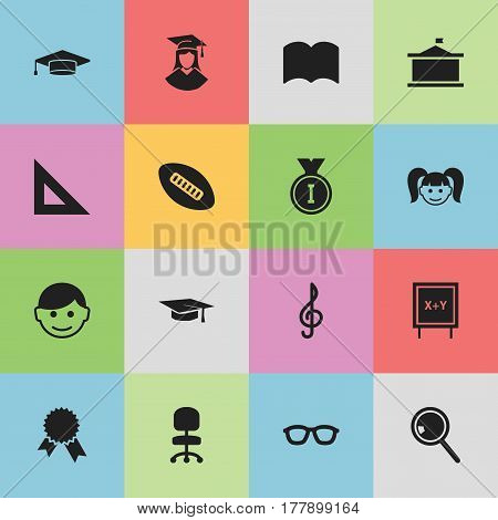 Set Of 16 Editable University Icons. Includes Symbols Such As Work Seat, Blackboard, Graduate And More. Can Be Used For Web, Mobile, UI And Infographic Design.