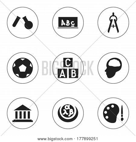 Set Of 9 Editable Graduation Icons. Includes Symbols Such As Alphabet Cube, Museum, School Board And More. Can Be Used For Web, Mobile, UI And Infographic Design.