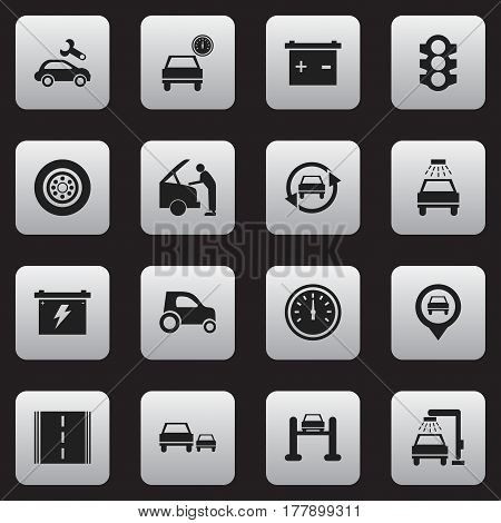 Set Of 16 Editable Car Icons. Includes Symbols Such As Auto Service, Tuning Auto, Battery And More. Can Be Used For Web, Mobile, UI And Infographic Design.