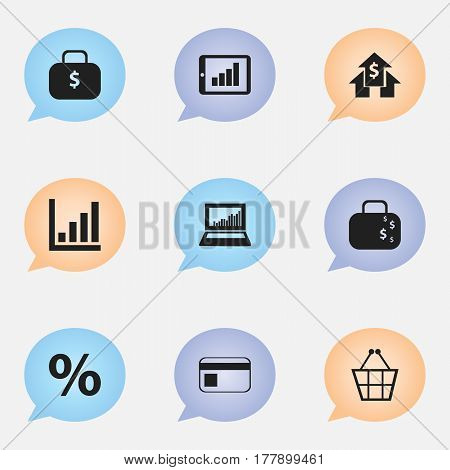 Set Of 9 Editable Analytics Icons. Includes Symbols Such As Money Bag, Equalizer Display, Cash Briefcase And More. Can Be Used For Web, Mobile, UI And Infographic Design.