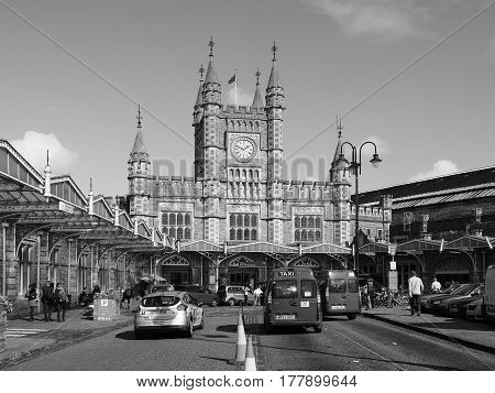 Temple Meads Station In Bristol In Black And White