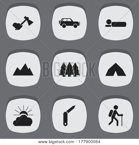 Set Of 9 Editable Camping Icons. Includes Symbols Such As Sunrise, Sport Vehicle, Ax And More. Can Be Used For Web, Mobile, UI And Infographic Design.