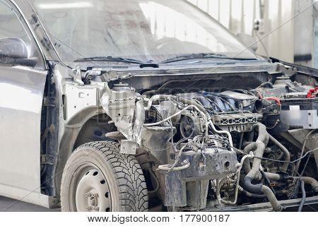 Crushed car close up
