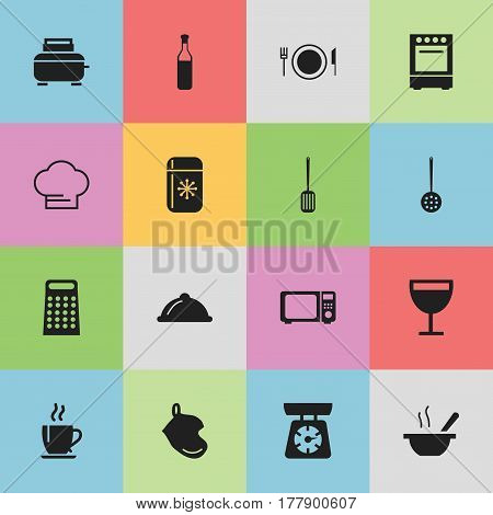 Set Of 16 Editable Cooking Icons. Includes Symbols Such As Wineglass, Bowl, Cooking Cap And More. Can Be Used For Web, Mobile, UI And Infographic Design.