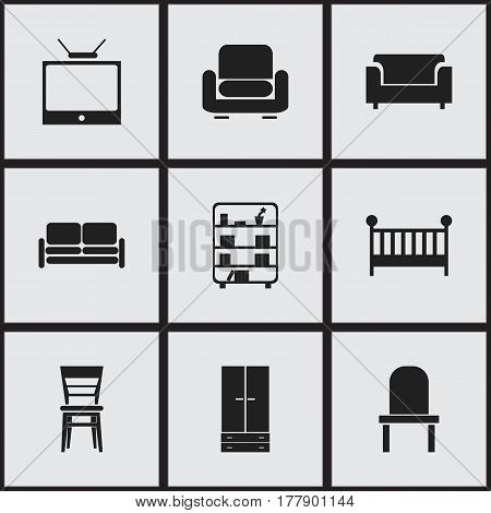 Set Of 9 Editable Home Icons. Includes Symbols Such As Recliner, Cabinet, Television And More. Can Be Used For Web, Mobile, UI And Infographic Design.