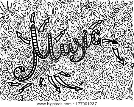 Music Sketchy Notebook Doodles. Hand-Drawn Vector Illustration.