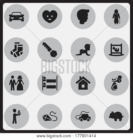 Set Of 16 Editable Relatives Icons. Includes Symbols Such As Married, Child, Moneybox And More. Can Be Used For Web, Mobile, UI And Infographic Design.