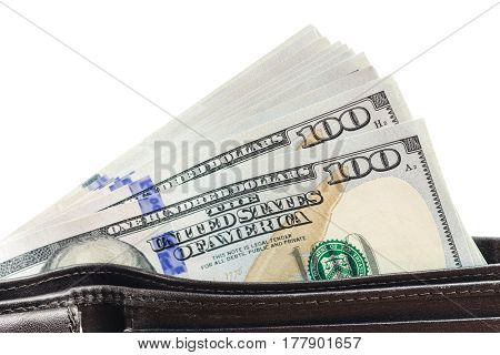 Wallet with hundred dollar banknotes isolated on white background money and finance concept