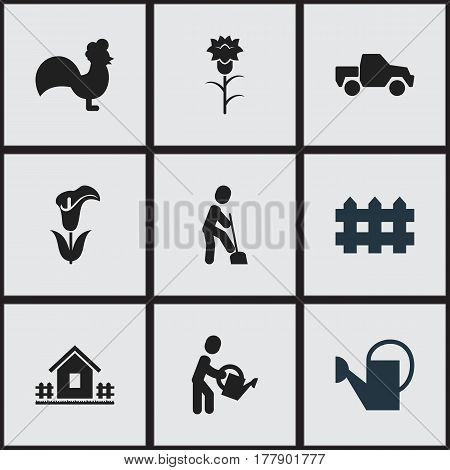 Set Of 9 Editable Garden Icons. Includes Symbols Such As Flower, Wooden Barrier, Home With Fence And More. Can Be Used For Web, Mobile, UI And Infographic Design.