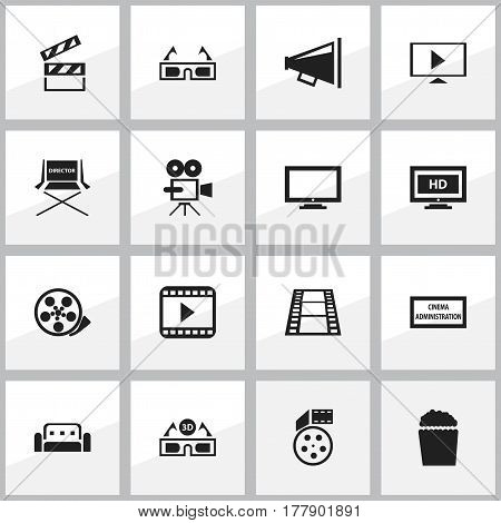 Set Of 16 Editable Movie Icons. Includes Symbols Such As Hd Screen, Loudspeaker, Film Glasses And More. Can Be Used For Web, Mobile, UI And Infographic Design.
